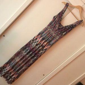 Loveapella Multicolor Chevron Maxi Dress, Small